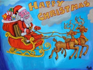 father-christmas, imaginary painting, reindeers,sleigh,christmas,