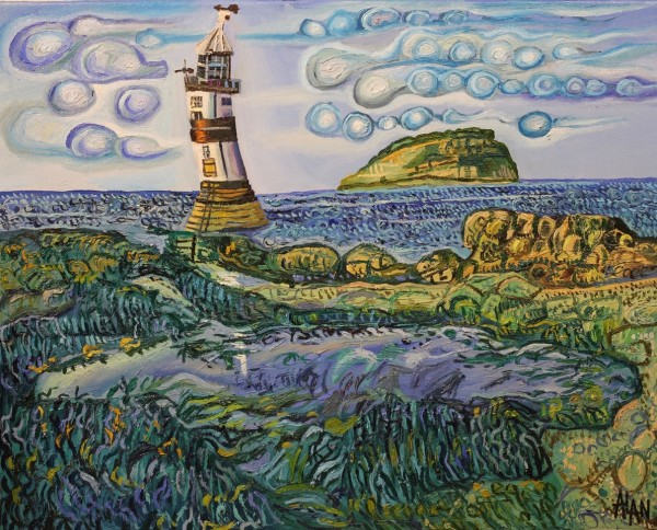oil painting of Black Point Lighthouse by Alan Streets