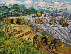 oil painting of Ecola State Park