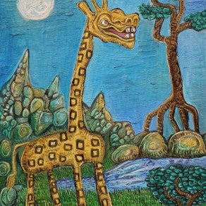 oil painting of a giraffe by Alan Streets