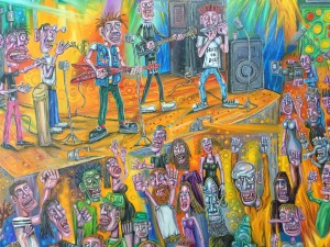 detail for the painting, the gig , oil painting, imaginary, alan streets