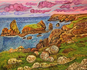 oil painting of kynance cove by alan streets