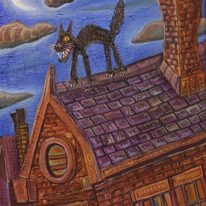 oil painting of a cat on a roof by alan streets