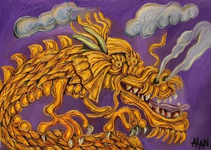 Oil painting of an orange dragon
