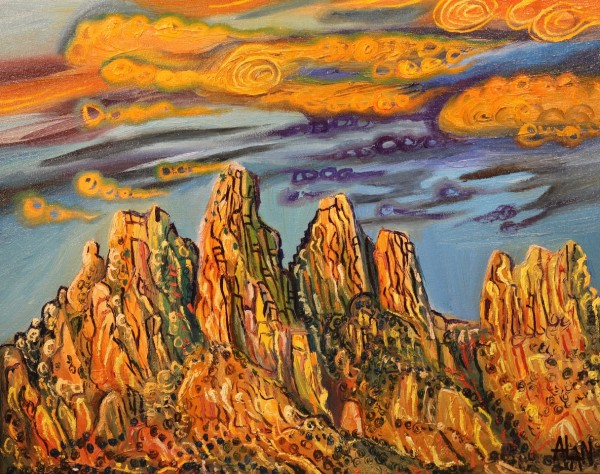 oil painting of organ mountains in New Mexico