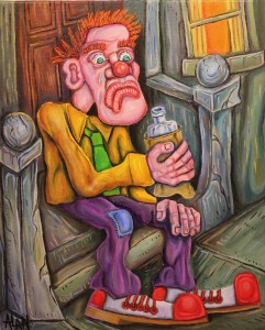 oil painting tears of a clown