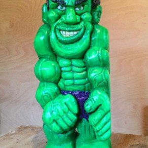 wood carving of the hulk