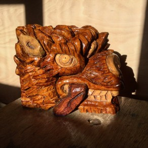 wood carving of a wolf