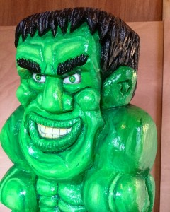 Close up of the Hulk woodcarving