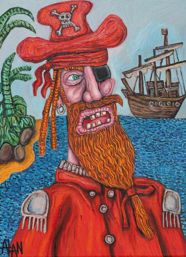 Oil painting of a pirate called captain red