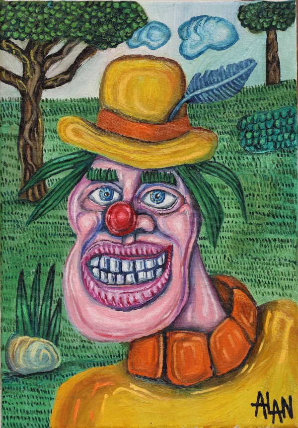 Oil painting of a clown
