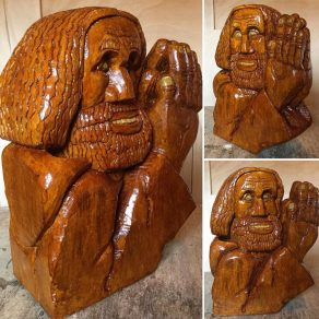 lime wood carving of a man praying called Saul
