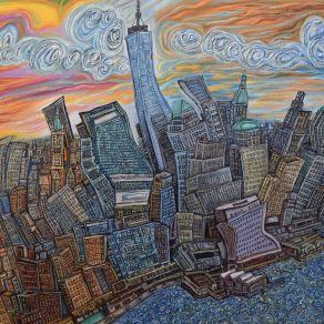 The Freedom Tower with swirling clouds, oil on canvas, 28''x 39'', Aug-20