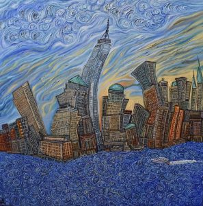 "he Freedom Tower with swirling water, oil on canvas, 32""x 32"", Aug-20"