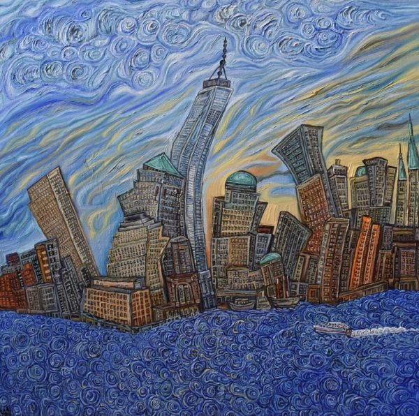 The Freedom Tower with swirling water, oil on canvas, 32''x 32'', Aug-20