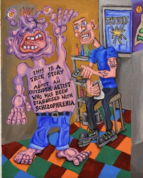 """Inside Book Cover and Page 1, acrylic on card, 12""""x 17.5"""" This is the inside book cover and page 1 of an illustrated autobiographical true story about schizophrenia!"""