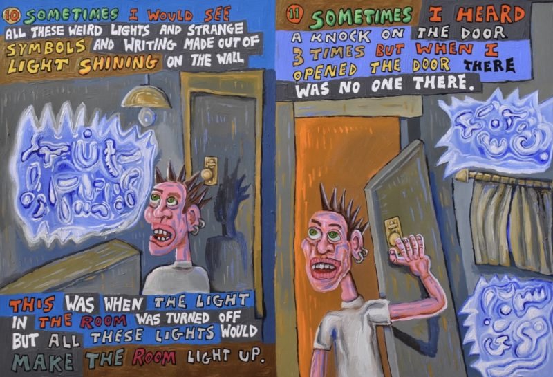This is page 10 and 11 of a book project. It is an illustrated autobiographical true story about schizophrenia!