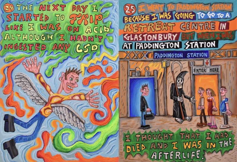 This is page 24 and 25 of a book project. It is an illustrated autobiographical true story about schizophrenia!