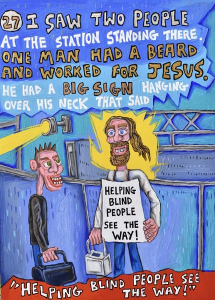 This is page 27 of a book project. It is an illustrated autobiographical true story about schizophrenia!